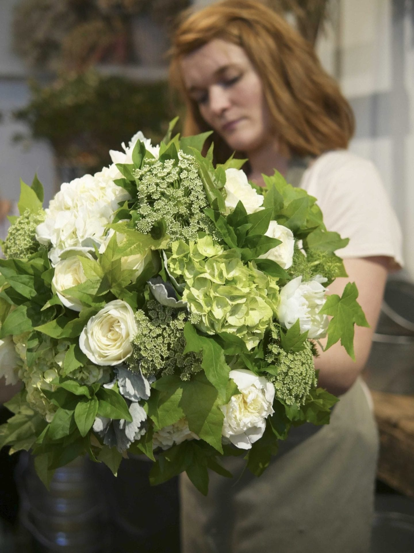 White and green flower bouquet.