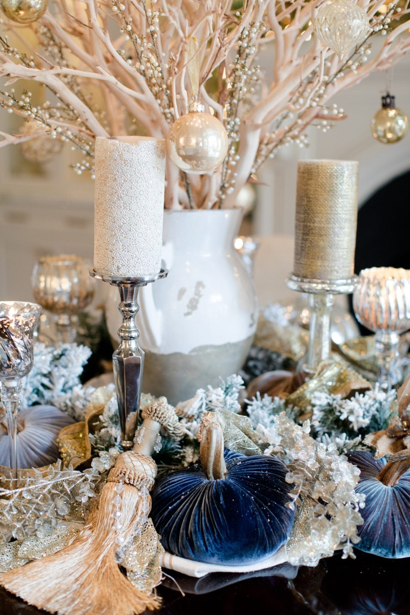 PlushPumpkins in blue with oversized tassels and silver candlesticks.