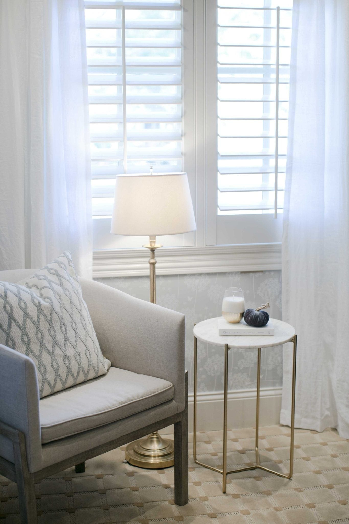 White and Gray removable wallpaper and white linen drapes from West Elm.