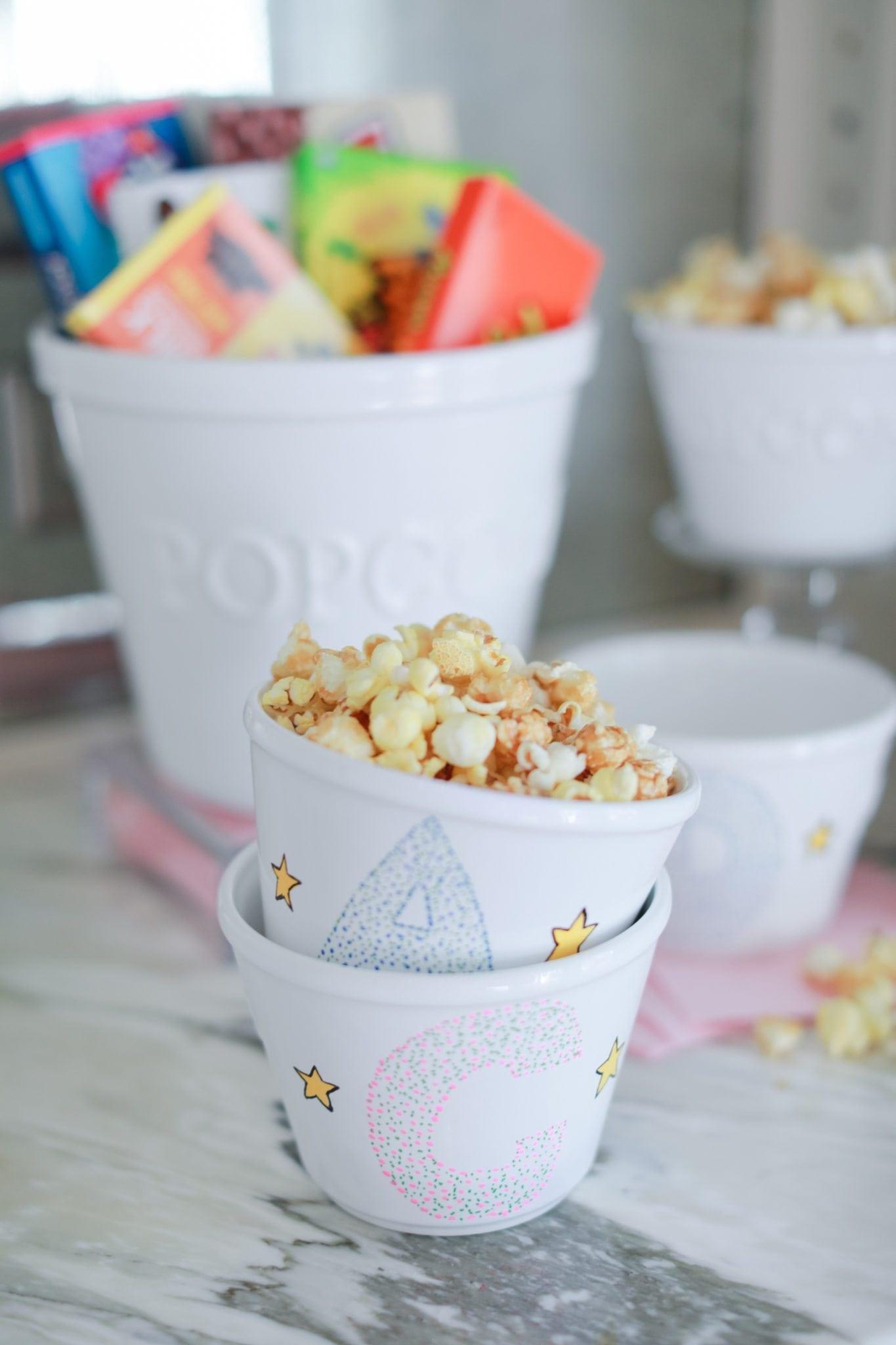 Personalized popcorn bowls.