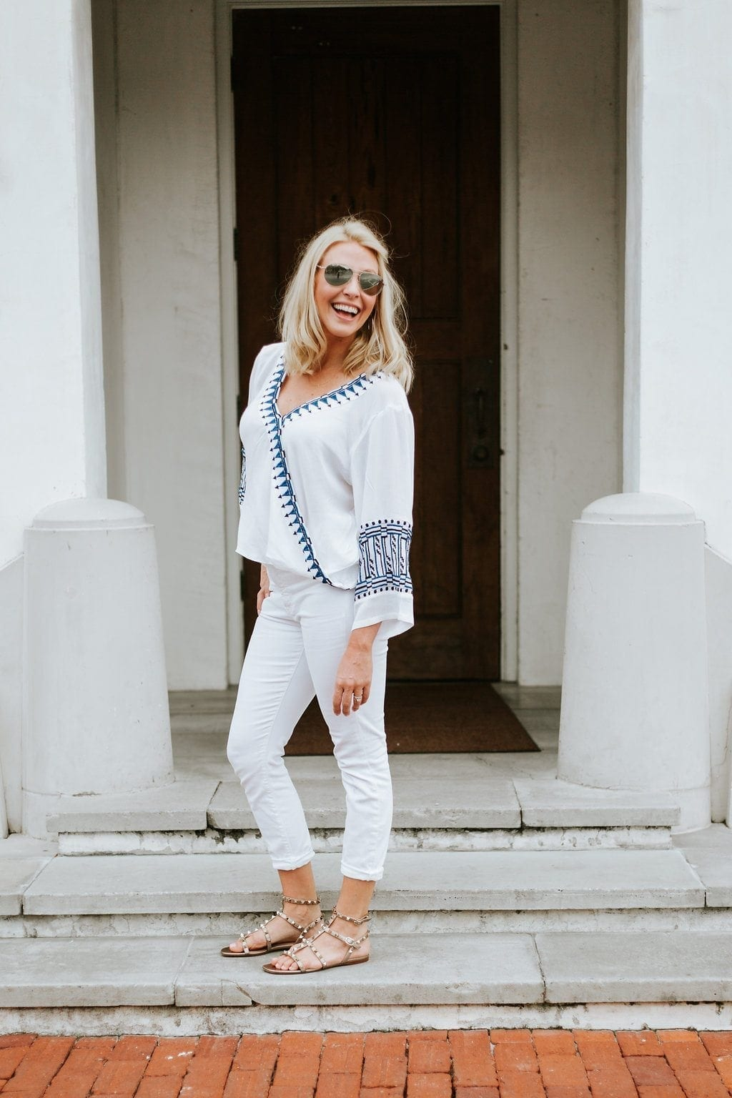 White and blue embroidered shirt. White vacation outfit.