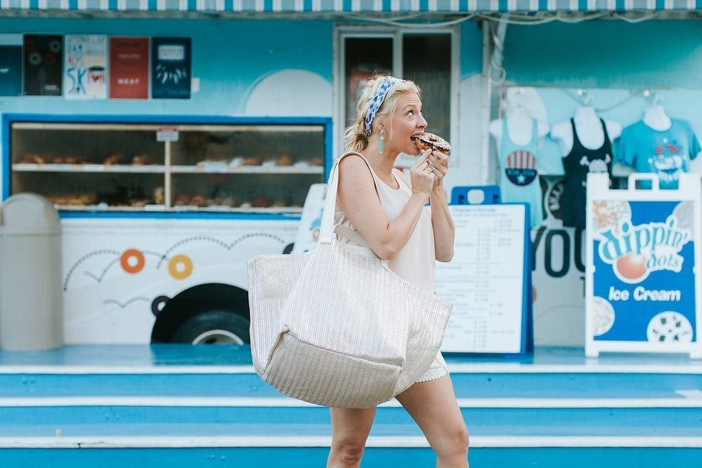 Why I love and use the Nordstrom Anniversary Sale 2017 to save me time and money for Christmas! Blue donut truck and oversized shopping bag. I can't wait for the yearly sale at Nordstrom Atlanta