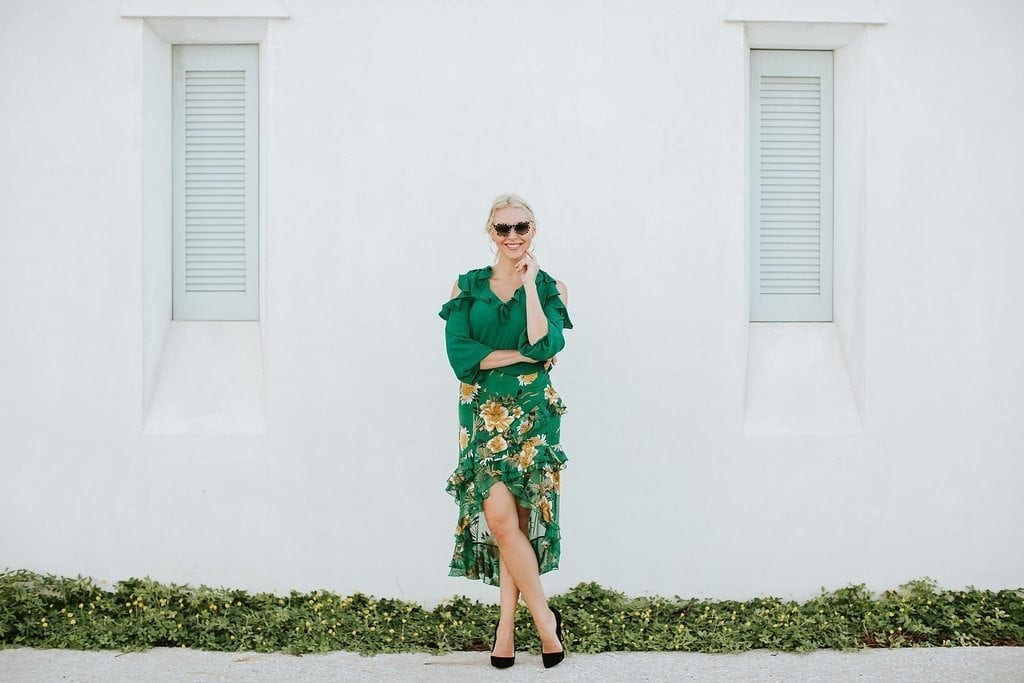 Sasha Ruffled Asymmetrical Floral Skirt and cat eye sunglasses with velvet black pumps on Atlanta blogger Kelly Page.