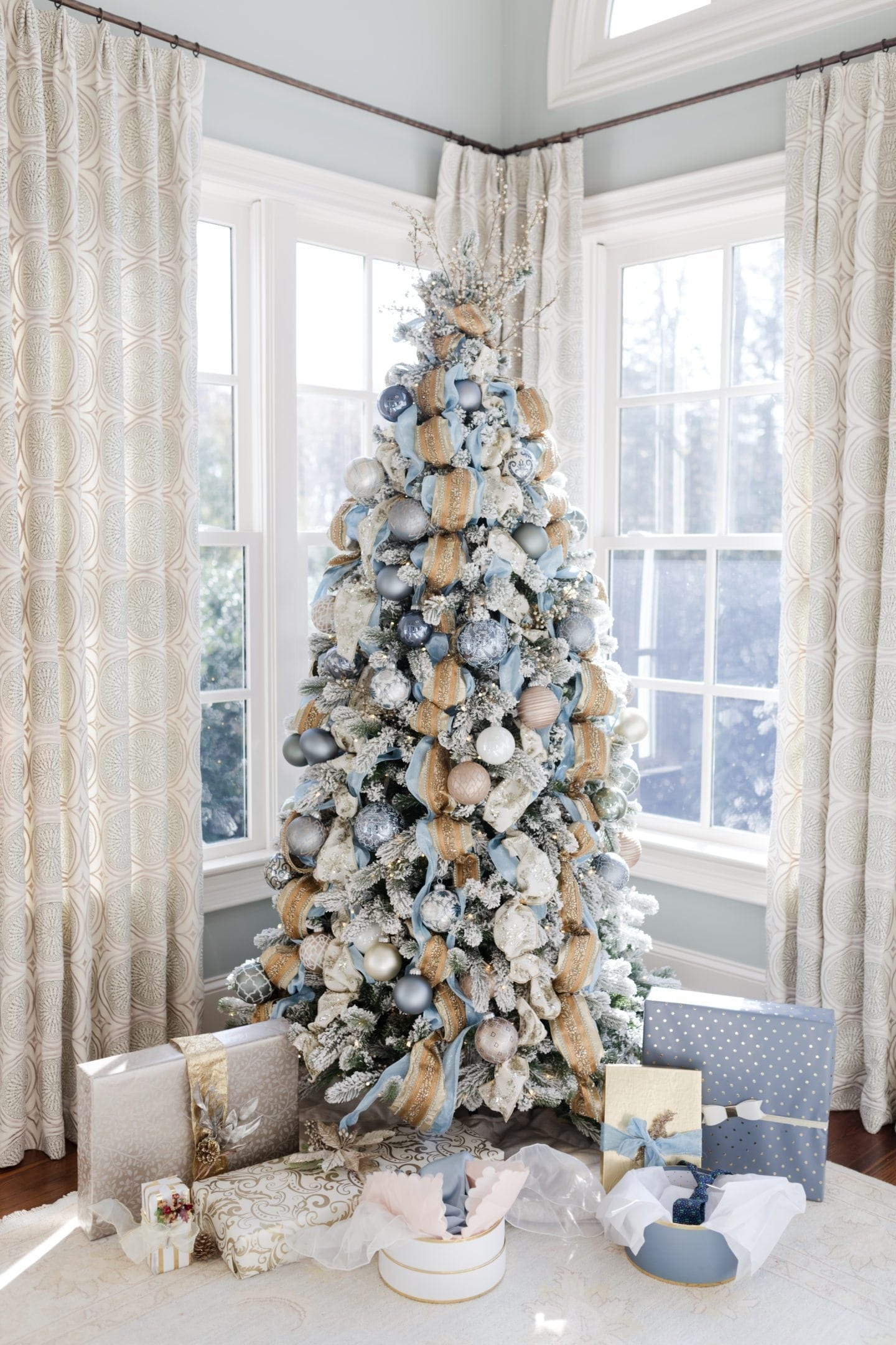 gold and blue christmas tree holiday inspiration for decorating for christmas with blue and gold