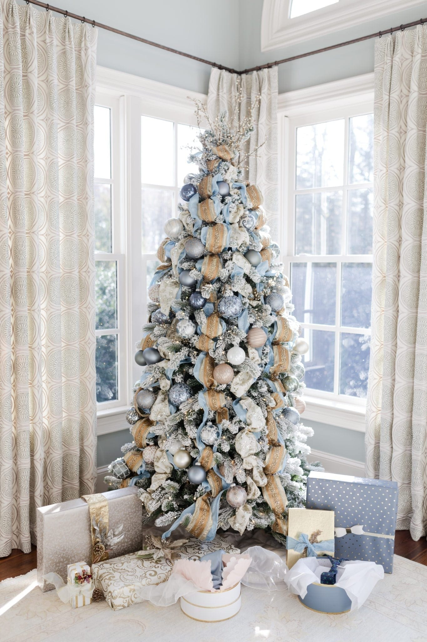 Gold And Blue Christmas Decorations My Cinderella Tree