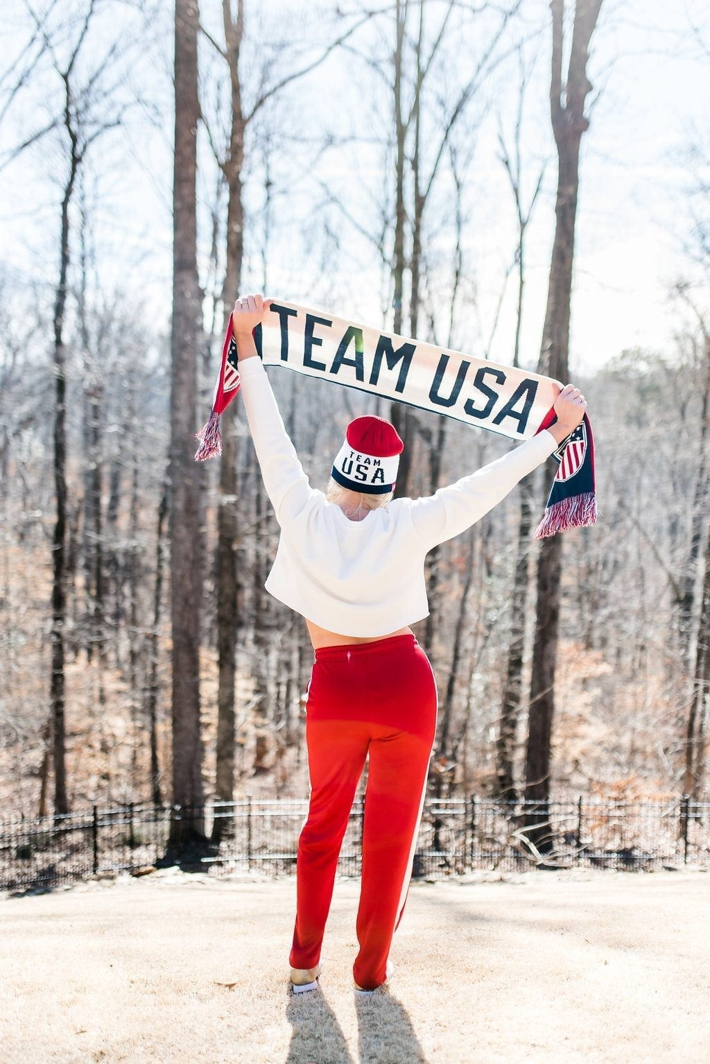Team USA scarf and hat. How to rock that red white and blue!
