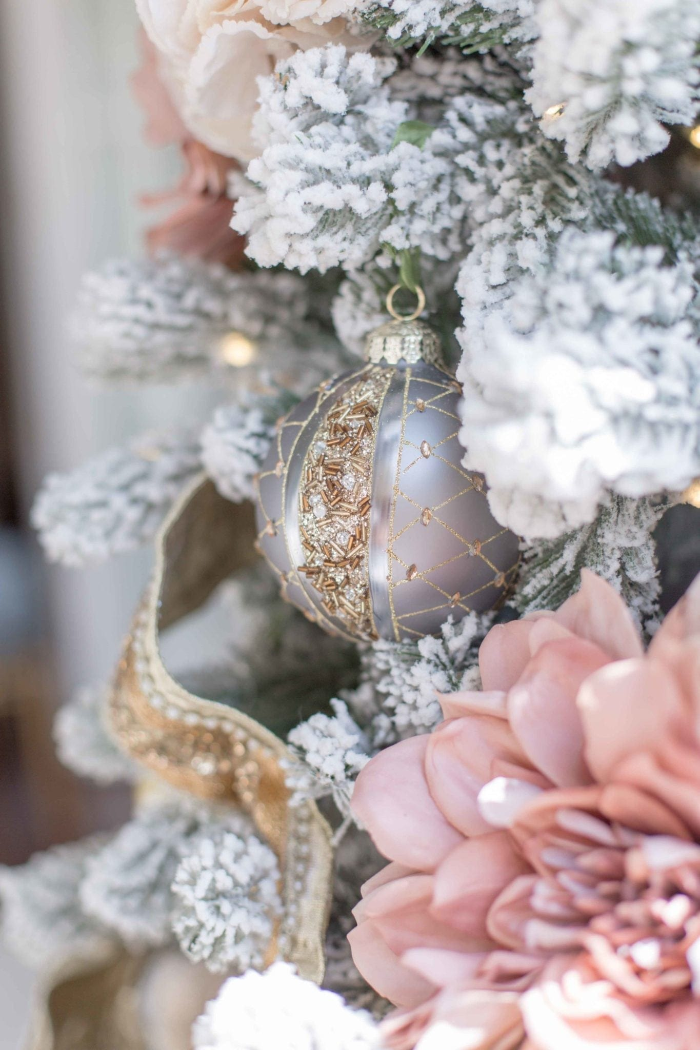 Frontgate ornaments from 2018. Gorgeous collection of gray and blue and gold ornaments from the Frontgate holiday decor collection.