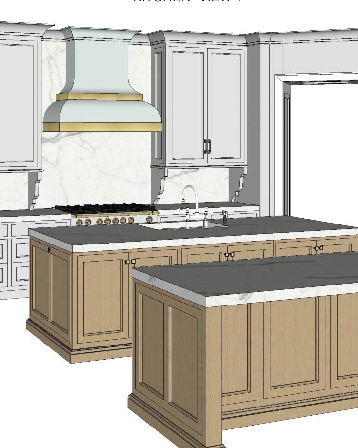 Kitchen with two wood stained islands and custom blue hood with gold straps.