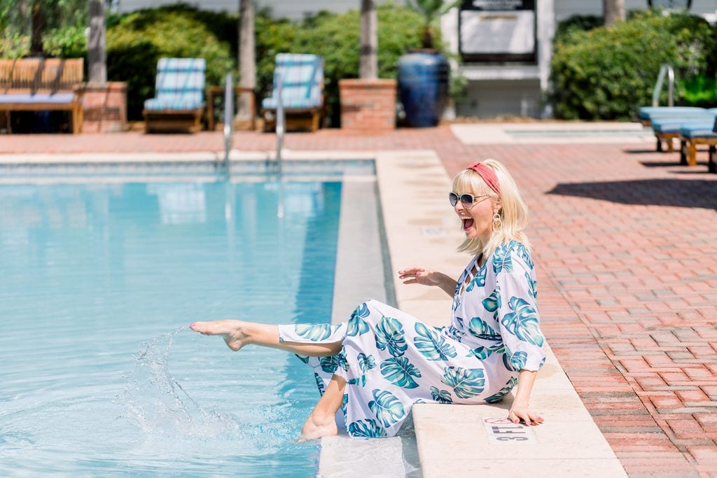 Amazon fashion bathing suit cover ups. Inexpensive bathing suit cover ups for summer. Anthropologie head scarf on blogger Kelly Page for BlueGrayGal.