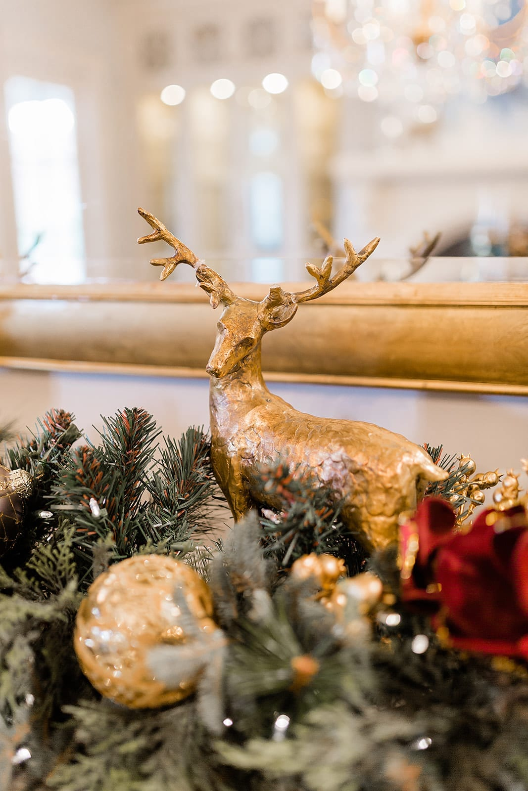 Use gold and dark red for buffet decorations for christmas. Accents of Christmas reindeer and deep colors.