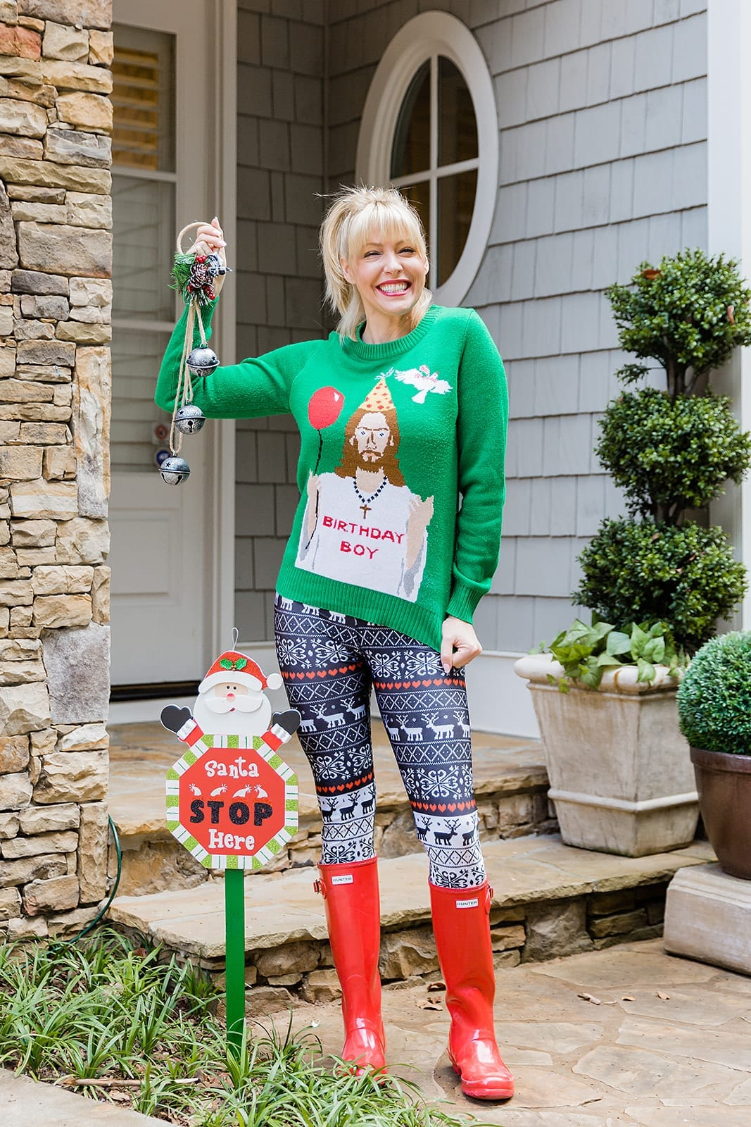 Birthday Boy Christmas Sweater. Funny Holiday sweater for Ugly Sweater Christmas party outfit! Hunter Red Rain boots.