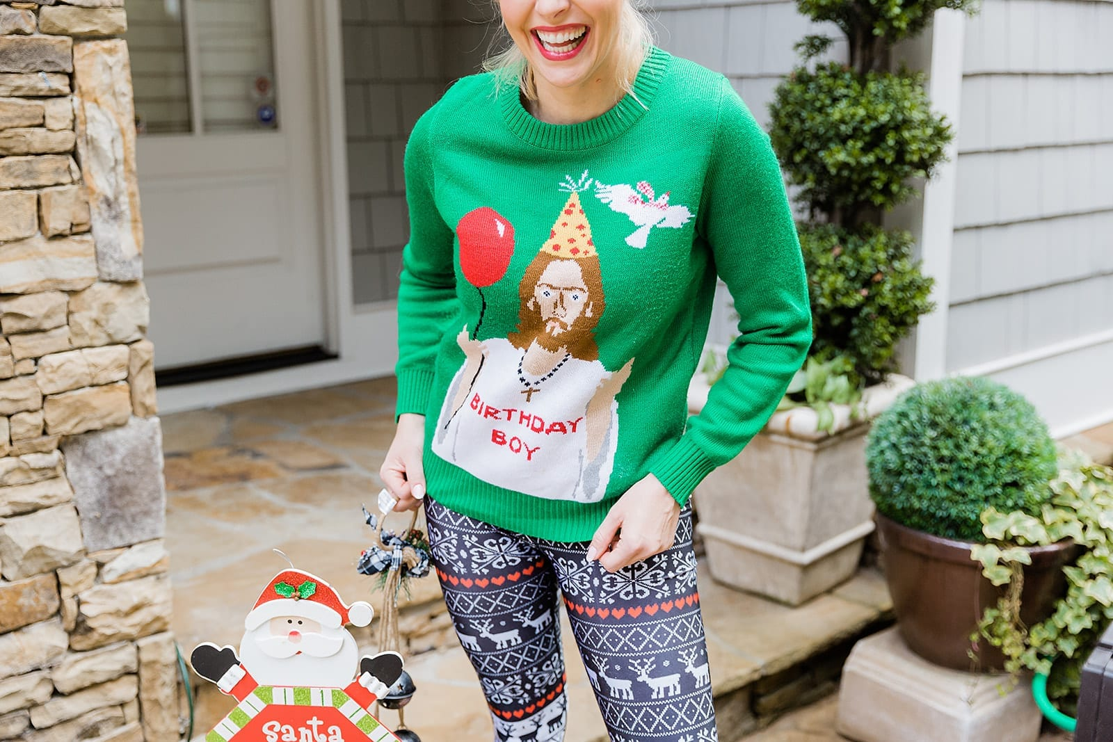 Funny Christmas Sweater with Reindeer Gym leggings. Christmas gym pants with Birthday Boy Jesus Sweater.