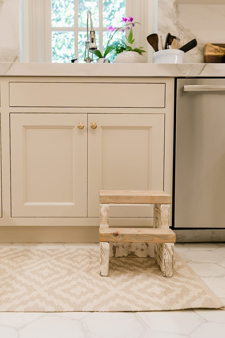 Farmhouse stool for kitchen. Dash and Albert rug and kitchen design ideas.
