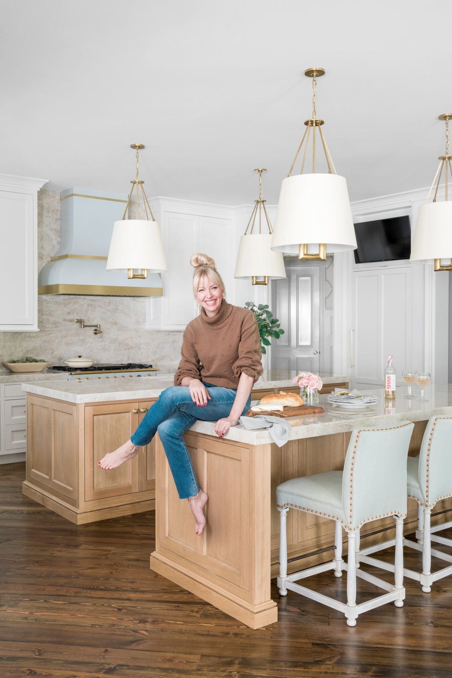 Atlanta lifestyle blogger Kelly Page for BlueGrayGal in her remodeled kitchen for House Beautiful magazine.