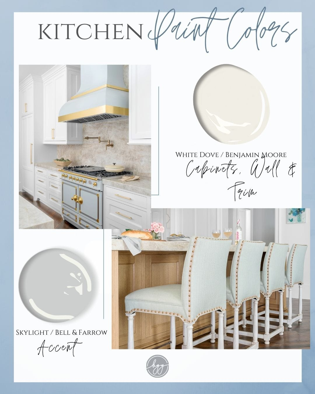 BlueGrayGal, the Atlanta home blogger Kelly Page, shares her kitchen paint colors with oak cabinets for her recently remodeled kitchen. A collection of greige paint colors for home decor.