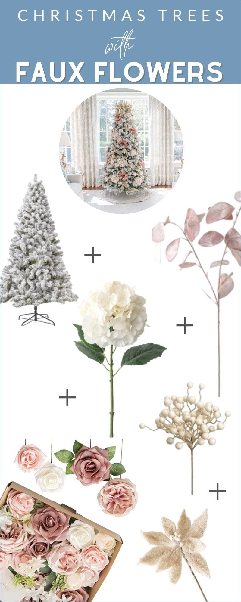 How to decorate for Christmas using silk Christmas tree flowers.