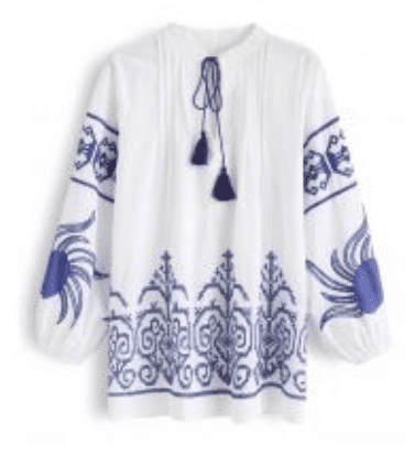 Blue and White Embroidered Shirt