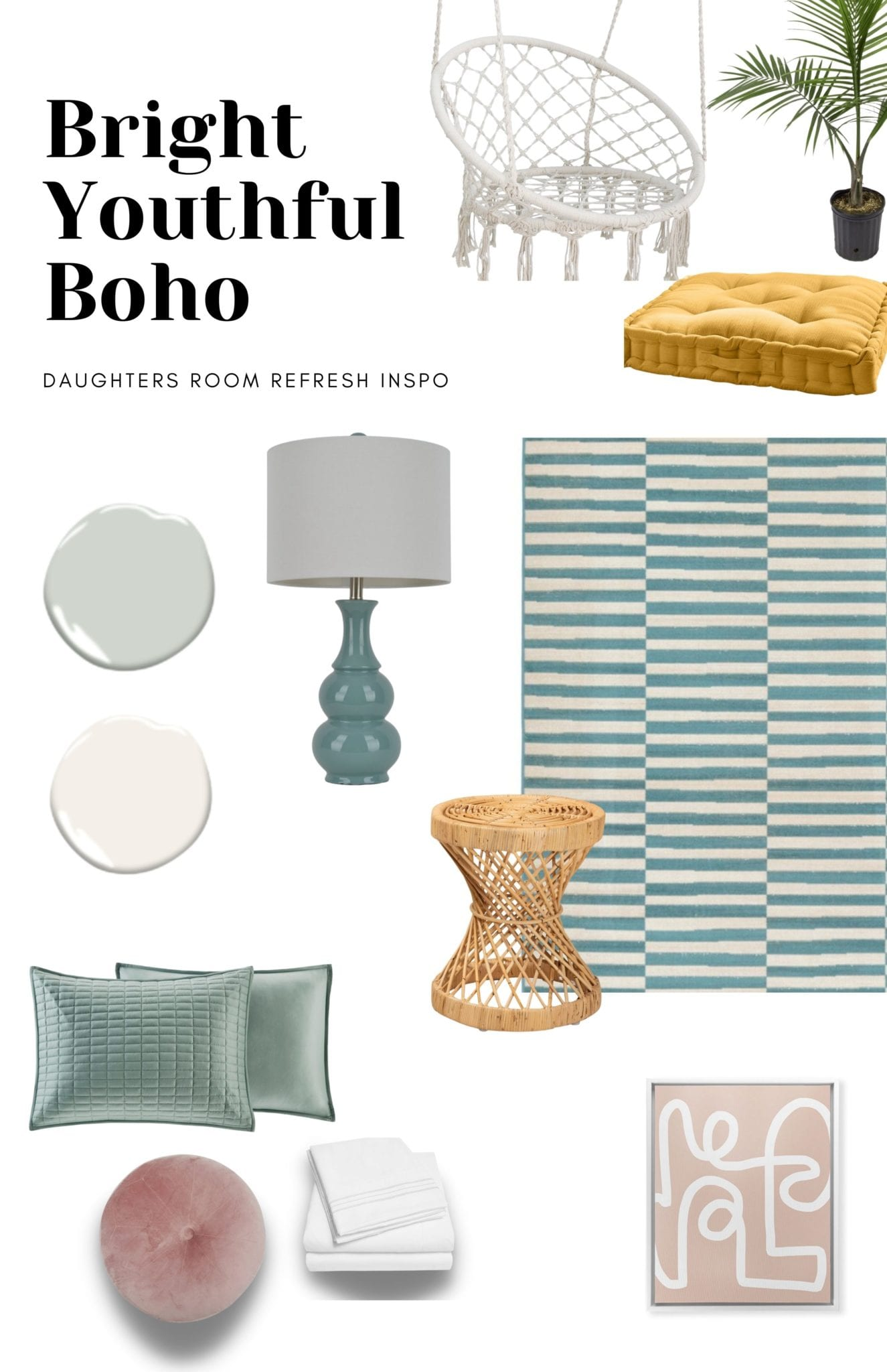 Teal and pink bedroom for girls with pops of yellow and rattan accents.