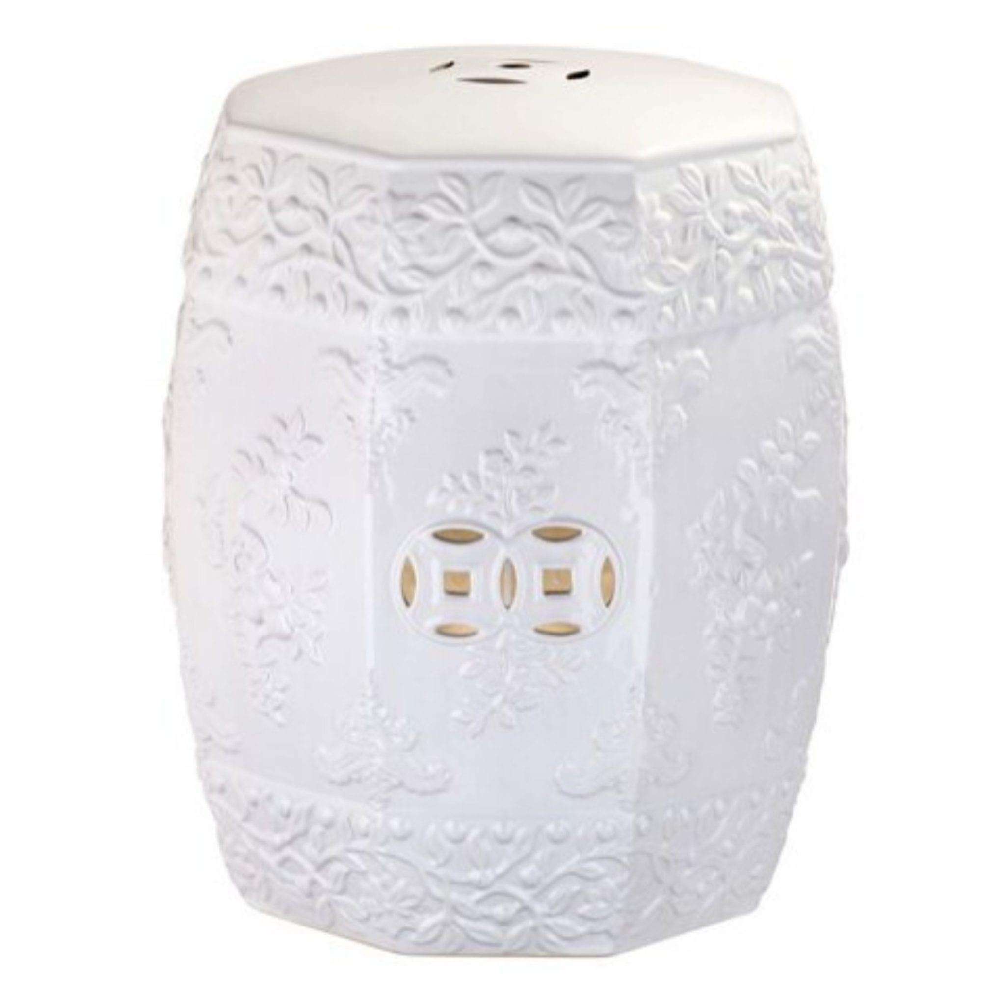 Zen Ren White Ceramic Garden Stool