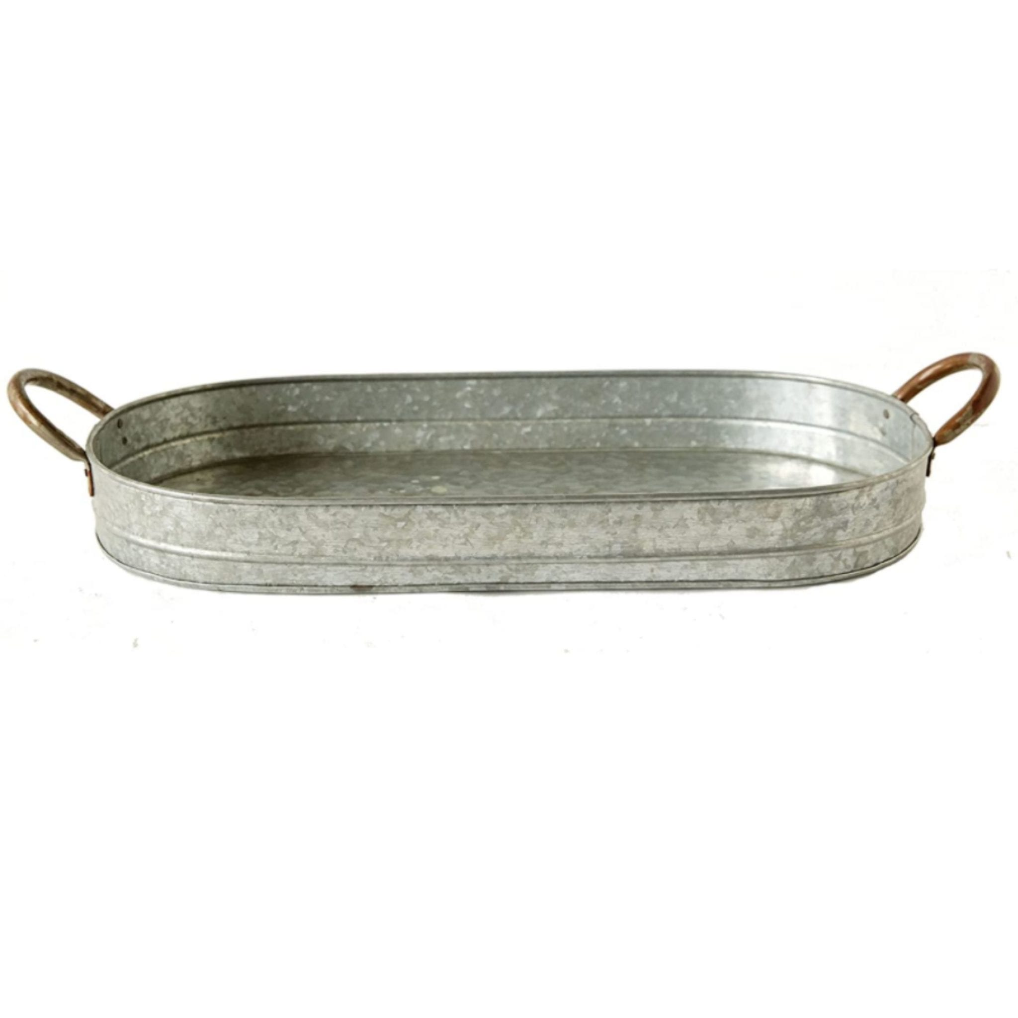 Silver Oval Decorative Tray With Galvanized Metal Handles Creative Co-Op Silver Oval Decorative Tray