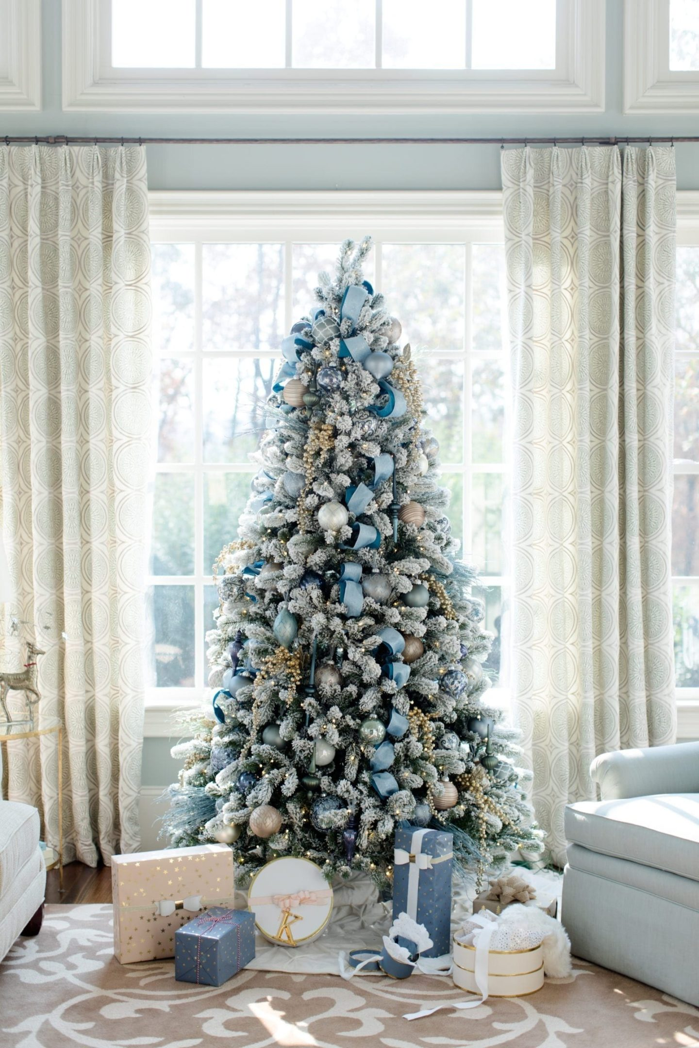 christmas tree decoration ideas blue and silver | WTBBLUE